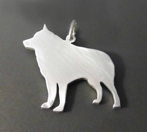 Schipperke Dog Charm silhouette solid sterling silver Handmade in the Uk